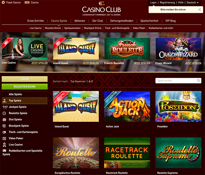 casinoclub top spiele